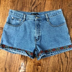 No Boundaries Denim Shorts with Floral Trim